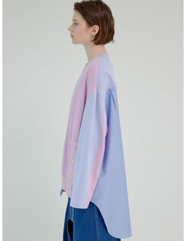 Unbalance Side Open Shirt Color Effect Sweatshirt by Groundwave