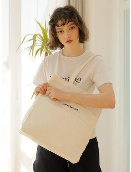 [Unisex]  Double Sided Shoulder Bag White by Wardrobe