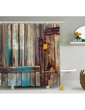 Rustic Shower Curtain, Aged Shed Door Backdrop With Color Details Country Living Exterior Pastoral Mansion Image, Fabric Bathroom Set With Hooks, 69 W X 70 L Inches, Brown, By Ambesonne by Ambesonne