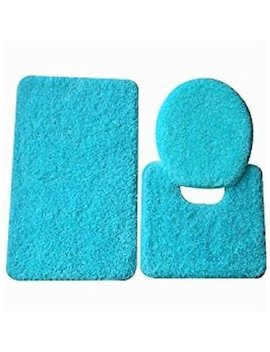 3 Pc Turquoise Blue  Bathroom Set Bath Mat Rug, Contour, And Toilet Lid Cover, With Rubber Backing #6 by Sam