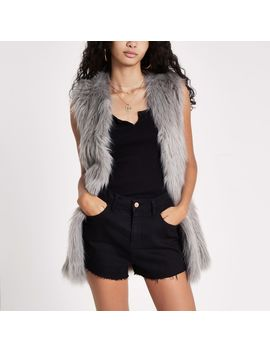 Grey Faux Fur Sleeveless Coat by River Island
