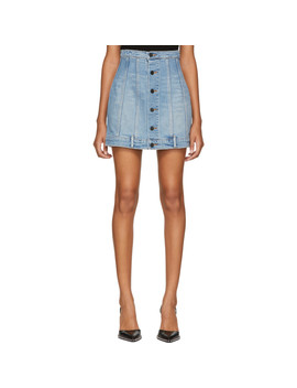 Blue Seamed Denim Miniskirt by Alexander Wang
