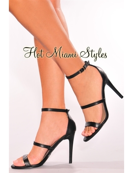 Black Faux Leather Strappy High Heels by Hot Miami Style