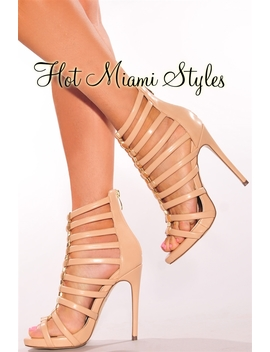 Nude Faux Leather Gold Studded Strappy High Heels by Hot Miami Style