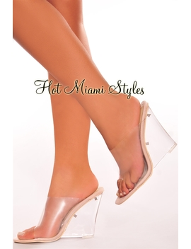 Nude Clear Pvc Lucite Wedge Mule Sandals by Hot Miami Style