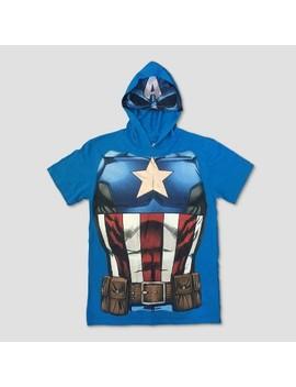 Boys' Captain America Short Sleeve Hooded T Shirt   Blue by Shop All Marvel