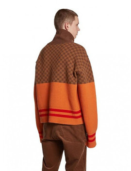 Chess Knit Turtle Sweater Orange by Trunk Project