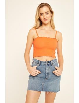 Pare Basic Chloe Rib Top Orange by Universal Store