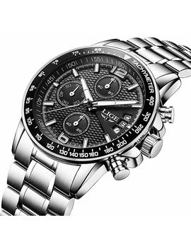 Men's Watches Dress Sports Design Calendar Quartz Chronograph Analog Watch In Black Textured Dial by Amazon