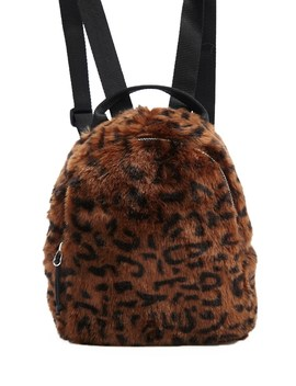 Faux Fur Leopard Print Backpack by Forever 21
