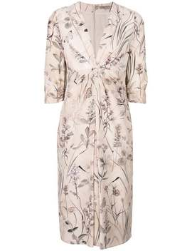 Floral Print Silk Dress by Bottega Veneta