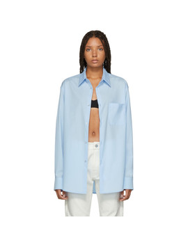Blue Open Side Shirt by Raf Simons