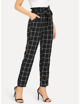 Self Belted Slant Pocket Grid Pants by Shein
