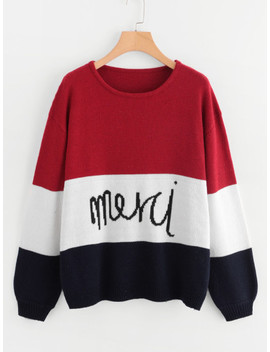 Soft Knit Colorblock Jumper With Lettering by Shein