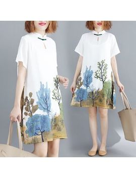 Print Short Sleeve Mandarin Collar Dress by Taragon
