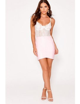 Jaslene Baby Pink Faux Leather Mini Skirt by In The Style