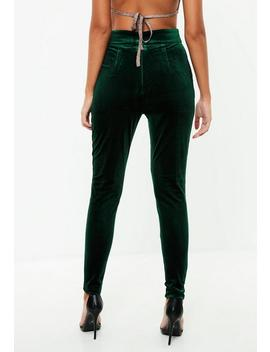 Green Velvet High Waist Pants by Missguided