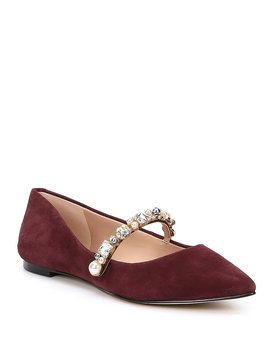Noel Suede Jeweled Ballet Flats by Generic