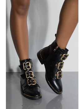 Azalea Wang Now I Get What I Want Three Buckle Strap Ankle Flat Bootie by Akira