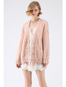 Pause For The Cozy Chunky Hand Knit Cardigan In Pink by Chicwish