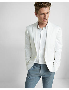 slim-cotton-blend-white-blazer by express