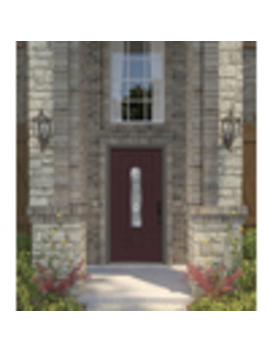 Jeld Wen Hampton Center Arch Lite Decorative Glass Right Hand Inswing Primed Steel Prehung Entry Door With Insulating Core (Common: 36 In X 80 In; Actual: 37.4375 In X 81.75 In by Lowe's