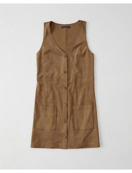 suede-button-up-dress by abercrombie-&-fitch