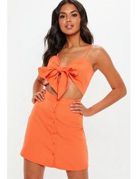 Orange Tie Front Cut Out Button Down Mini Dress by Missguided