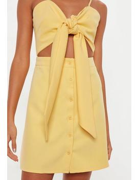 Yellow Tie Front Cut Out Button Down Mini Dress by Missguided