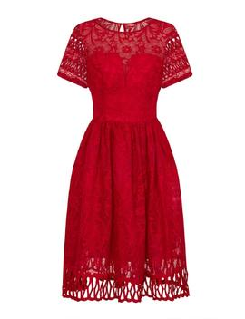 *Chi Chi London Red Crochet Midi Skater Dress by Dorothy Perkins