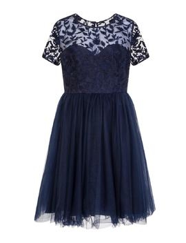 *Chi Chi London Navy Floral Embroidered Midi Skater Dress by Dorothy Perkins
