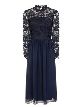 *Chi Chi  London Navy Crochet Midi Skater Dress by Dorothy Perkins