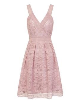 *Chi Chi London Mink Crochet Midi Skater Dress by Dorothy Perkins
