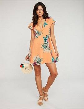 Floral Wrap Tie Dress by Charlotte Russe
