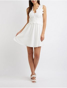 Crochet Floral Skater Dress by Charlotte Russe