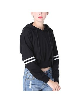 Perfashion Women's Loose Striped Long Sleeve Crop Top Pullover Sweatshirt Black White by Perfashion