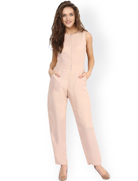 Miss Chase Beige Slim Fit Jumpsuit by Miss Chase