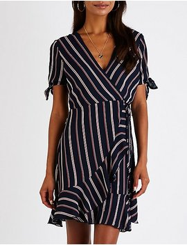 Striped V Neck Wrap Top by Charlotte Russe