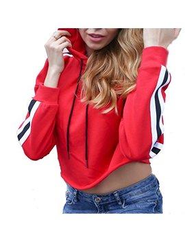 Chbc Women Long Sleeve Stripe Casual Crop Hoodie Drawstring Pullover Sweatshirt Tops by Chbc