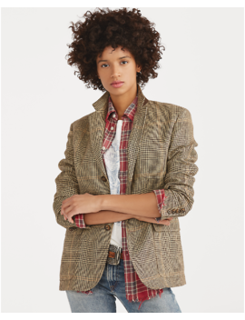 Glen Plaid Linen Blazer by Ralph Lauren