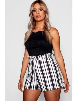 Plus Stripe Ruffle Waisted Tailored Shorts by Boohoo