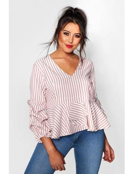 Plus Ruched Sleeve Peplum Top by Boohoo