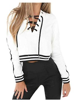 Papijam Womens Casual Striped Lace Up Long Sleeve Cropped Hoodie Sweatshirt by Papijam