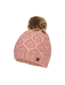 Mantaray   Girls' Pink Cable Knit Beanie by Mantaray