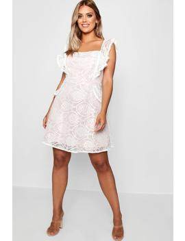Plus Lace Ruffle Skater Dress by Boohoo
