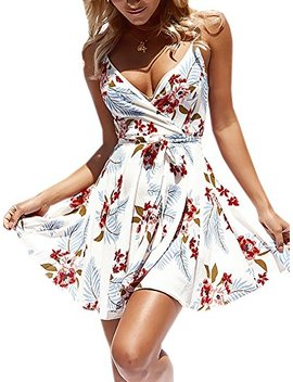 Ecowish Womens Dresses Summer Floral Print V Neck Spaghetti Strap Mini Swing Skater Dress With Belt by Ecowish