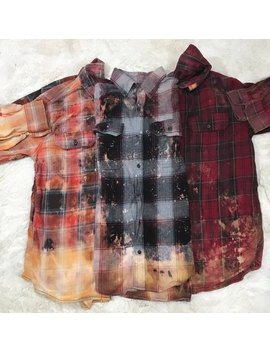Distressed Flannel, Bleached Flannel, Vintage, Flannels, Unisex Sizing, Over Sized, Womans Clothing by Beetle Bs Crafts