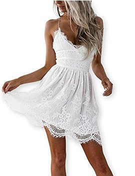 Aooksmery Women White Summer V Neck Spaghetti Straps Lace Knee Length Backless Dresses by Aooksmery