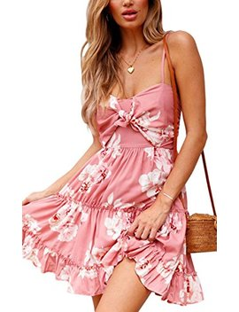 Ecowish Womens Dresses Floral Spaghetti Strap Tie Knot Front Flowy Pleated Mini Swing Dress by Ecowish