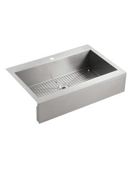 Kohler Vault 35.75 In X 24.3125 In Single Basin Stainless Steel Standard (9 In Or Larger) Undermount Apron Front/Farmhouse 2 Hole Commercial/Residential Kitchen Sink by Lowe's